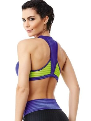 CAJUBRASIL 6260 Sexy Sports Bra Top Fusion Purple Neon Yellow