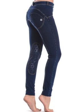 FREDDY WR.UP Shaping Effect -SWAROWSKI Crystals- Low Waist – Skinny – Denim Effect Dark Wash