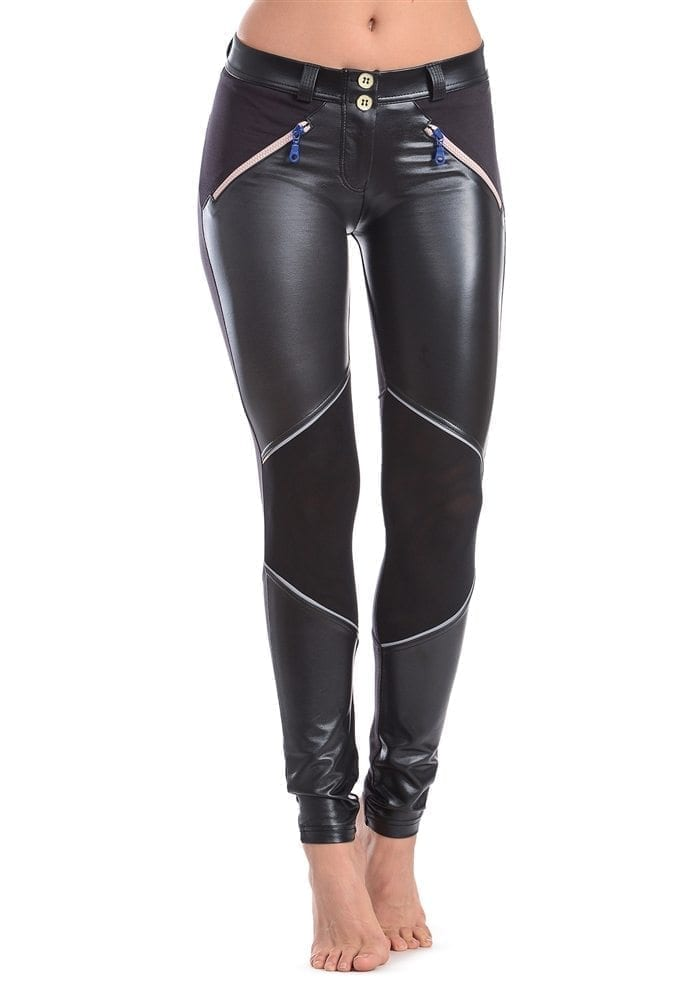 FREDDY WR.UP SHAPING EFFECT – LOW WAIST – SKINNY – FAUX LEATHER MESH Design