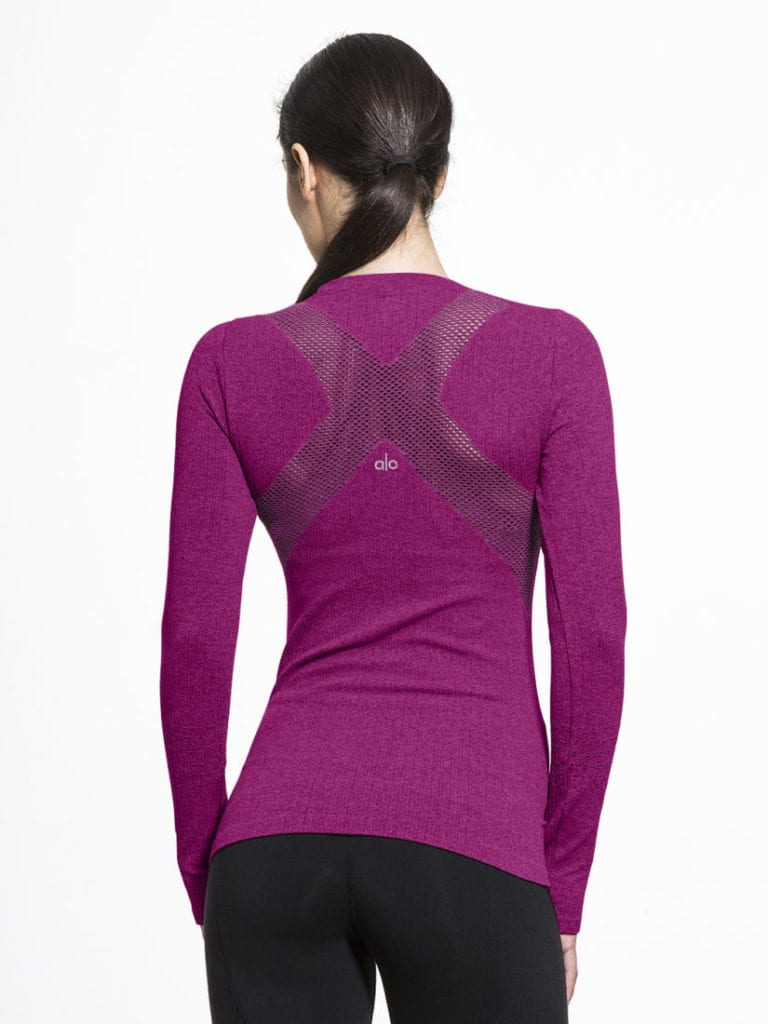 ALO Yoga Exhale Long Sleeve Top - Juneberry -Sexy Yoga Tops