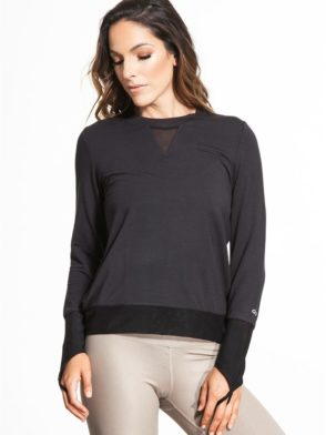 ALO Yoga Serene Long Sleeve Top -Sexy Yoga Tops Black