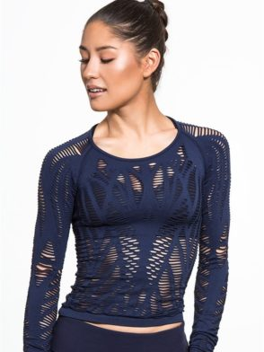 ALO Yoga Wanderer Long Sleeve Top -Sexy Yoga Tops Navy