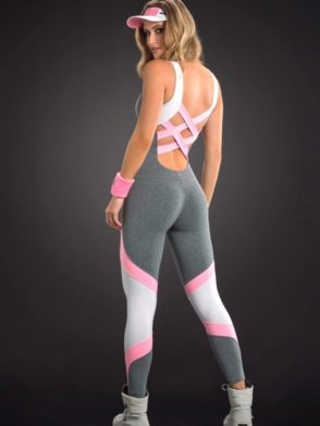 OXYFIT Jumpsuit Section 15191 Jersey White – Sexy Rompers, Cute Workout 1-Piece