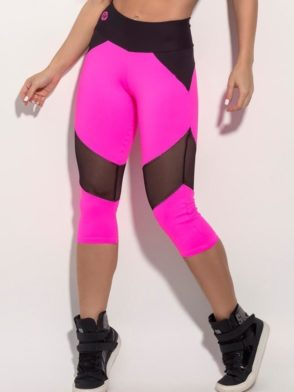 SUPERHOT Sexy Capris CAL921 Sexy Leggings Pink with Black Mesh