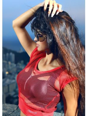 DYNAMITE Crop Top Net Red Trainer Blouse BL226-2-17-Sexy Tops
