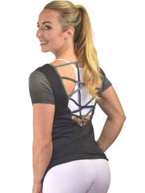 CAJUBRASIL T-Shirt 9025 Love-Sexy Workout Top-Yoga Top Charcoal