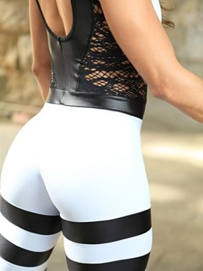 DYNAMITE Brazil Jumpsuit ML2093 Striped White and Black-Sexy One-Piece Romper