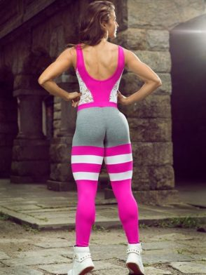 DYNAMITE Brazil Jumpsuit ML2093 Striped Blend Pink Overalls-Sexy One-Piece Romper