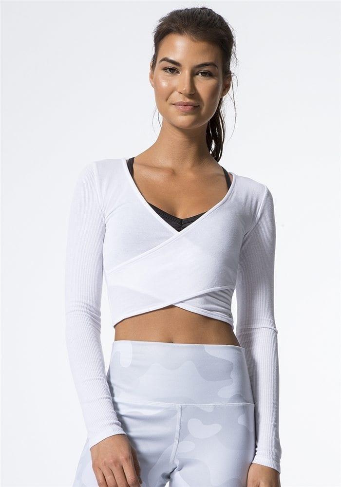 ALO Yoga Amelia Long Sleep Crop -Sexy Yoga Tops white