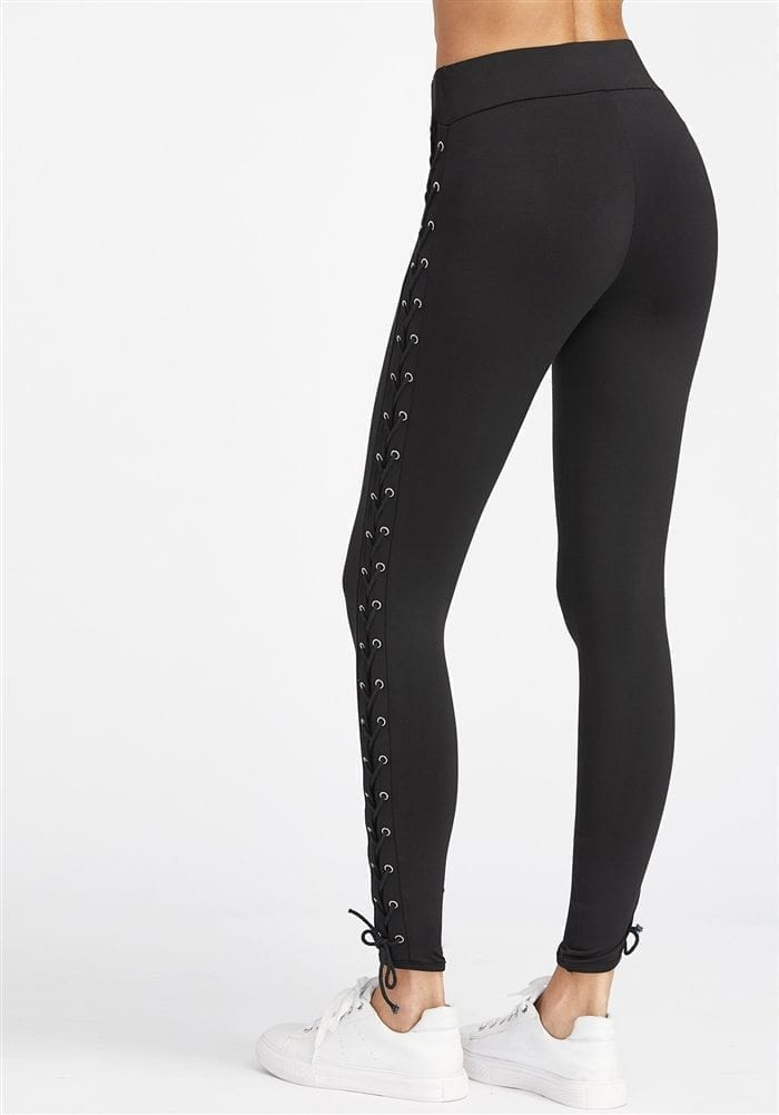 fbc84067a81fbe ... ECO Black Eyelet Lace Up Side Leggings Yoga Pilates Leggings Black ...