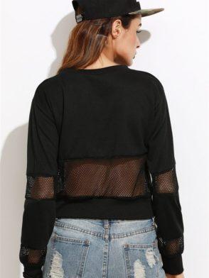 ECO Black Letter Print Contrast Mesh Sweatshirt-Worst Behavior