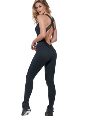 OXYFIT Jumpsuit Riviera 15196 Black Mesh - Sexy Rompers, Cute Workout 1-Piece