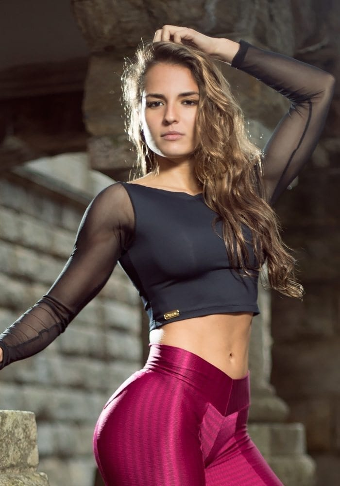 DYNAMITE BRAZIL Cropped Blouse Long Sleeve BL232 Black -Sexy Tops