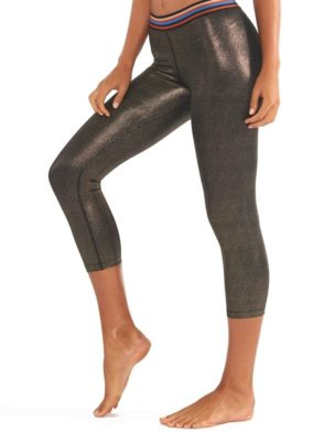 L'URV Leggings Disco City 3/4 Glitter Legging Sexy Workout Tights Black Gold