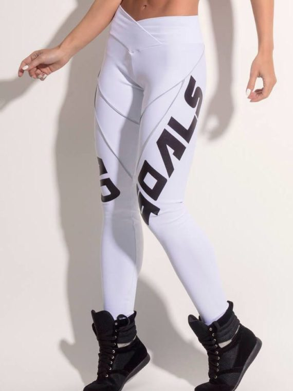 SUPERHOT Leggings CAL999 Sexy Workout Leggings SQUAD GOALS White