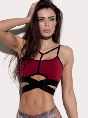 SUPERHOT Bra TOP1224  SEXY Workout Tops Cute YOGA Sport Bra Crimson Red