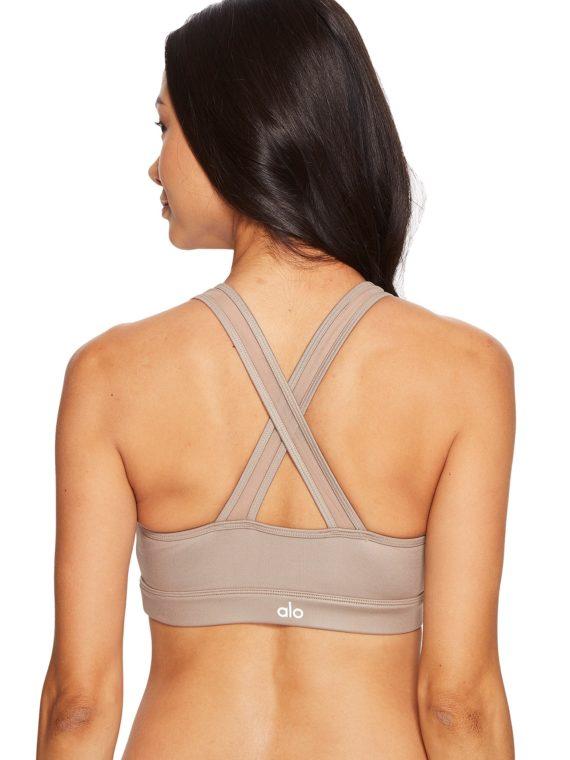 ALO Yoga Bra Entice Bra -Sexy Workout Bra Tops Gravel Glossy