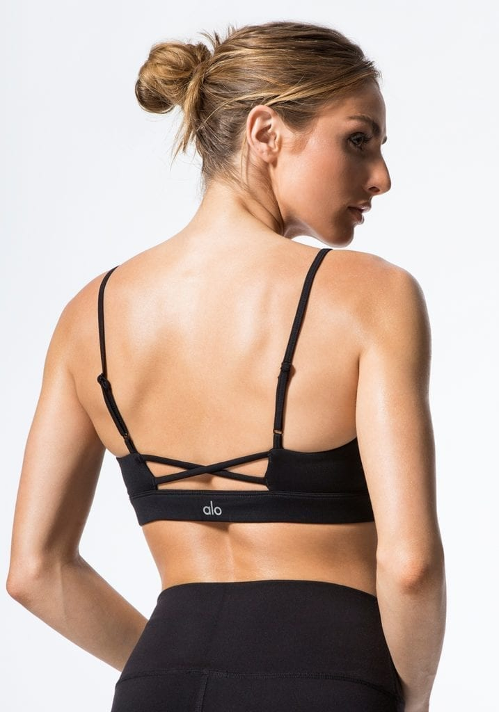 ALO Yoga Bra Interlace Bra -Sexy Workout Bra Tops Black