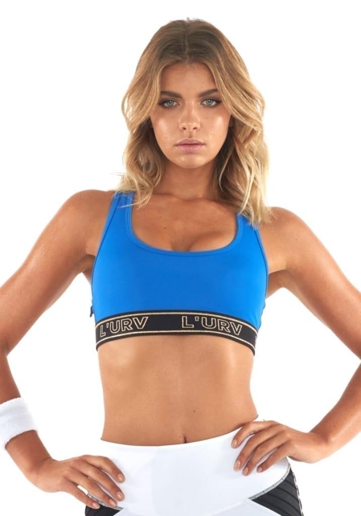 L'URV Sports Bra Energize Me Bra Sexy Workout Top Blue White Mesh
