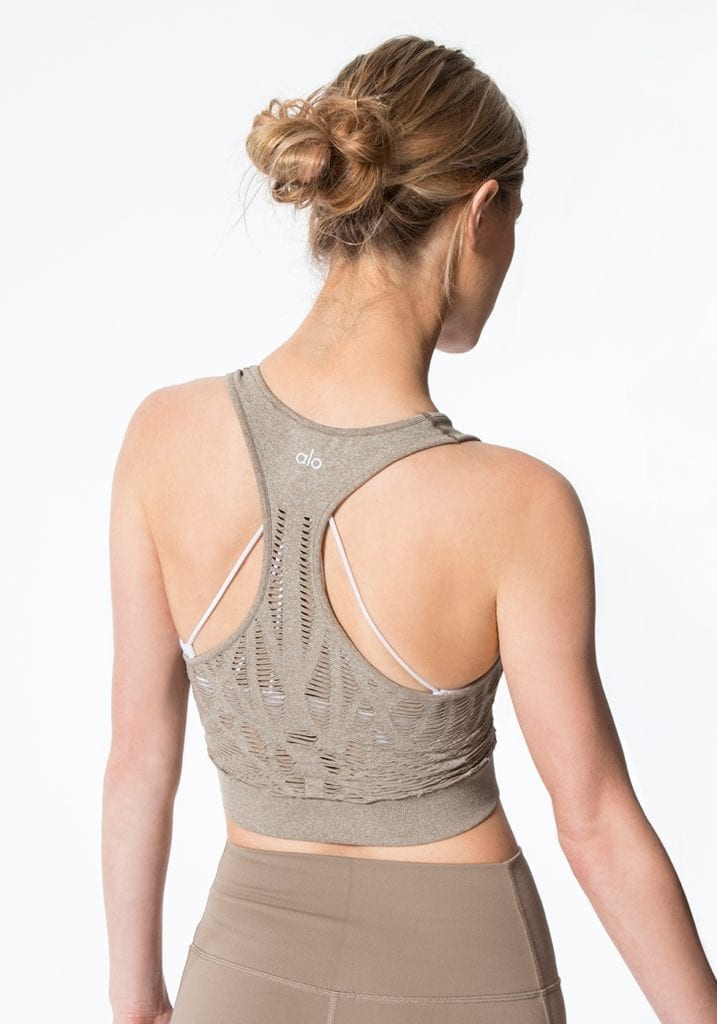 ALO Yoga Vixen Fitted Crop Tank Top - Sexy Yoga Tops Gravel Heather