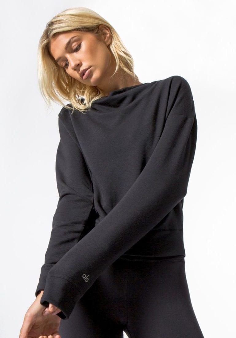 ALO Yoga Long Sleeve Top Uplift - Sexy Yoga Tops BK