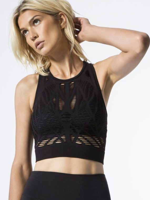 ALO Yoga Vixen Fitted Crop Tank Top – Sexy Yoga Tops Black