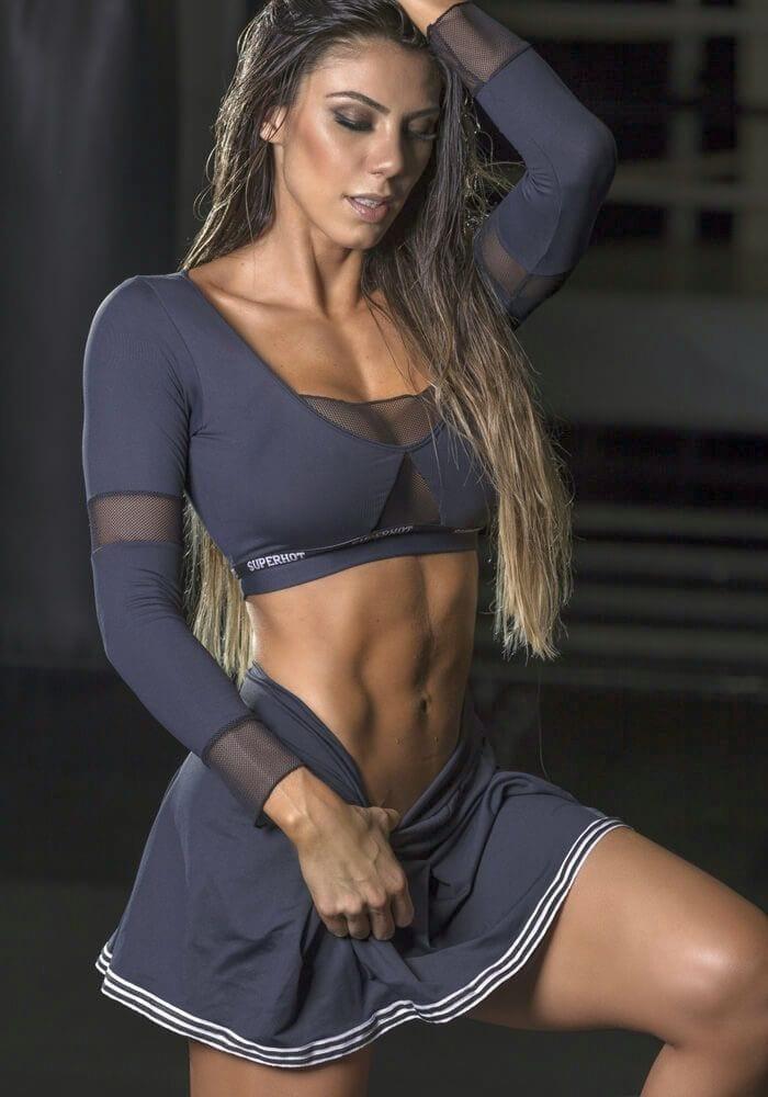 SUPERHOT Long Sleeve Crop Top BL1341 College Sexy Workout Top