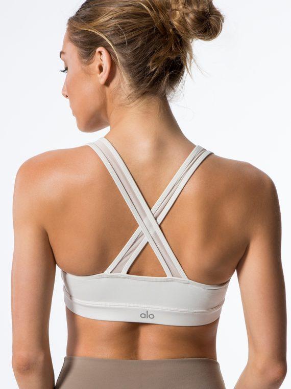 ALO Yoga Bra Entice Bra -Sexy Workout Bra Tops Pearl