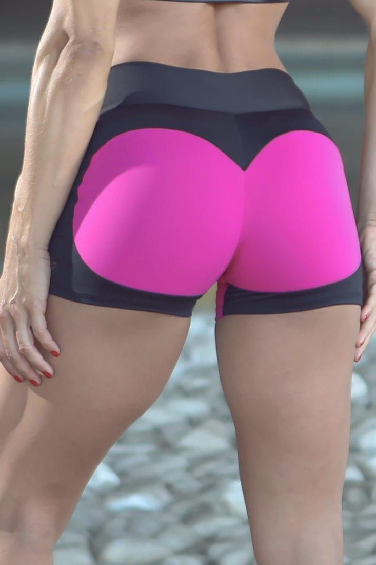 DYNAMITE BRAZIL Shorts SH2094 APPLE BOOTY BK PINK-Sexy Shorts