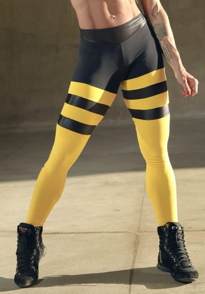DYNAMITE Brazil Leggings L2093 Yellow Striped Leggings