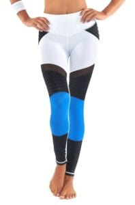 L'URV Leggings SHAKE YOUR BOOTY Leggings Sexy Workout Tights White BK Blue