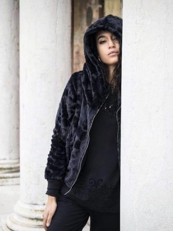 FREDDY Athletic Life Jacket in Faux Fur F8WALJ1 - Black
