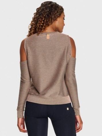 FREDDY Yoga Off Shoulder Shirt with Gold Lurex Micro Stripes S9WMIS2