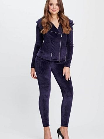 Freddy WR.UP Chenille Tracksuit-Leather Jacket Style Set S9WTRK5- Violet