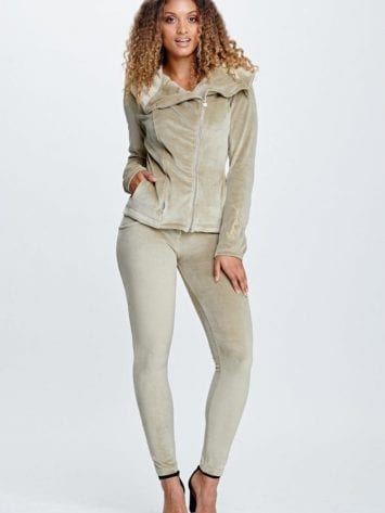Freddy WR.UP Chenille Tracksuit-Leather Jacket Style Set S9WTRK5-Sand Storm
